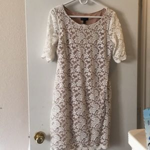 Nude Dress w/lace overlay size 10